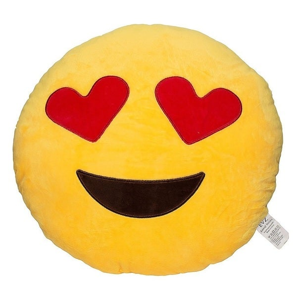 Emoji Heart Eyes Yellow Round Plush Pillow