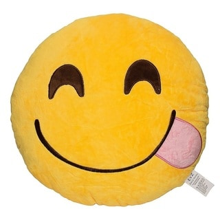 Emoji Cute Fun Yellow Round Plush Pillow