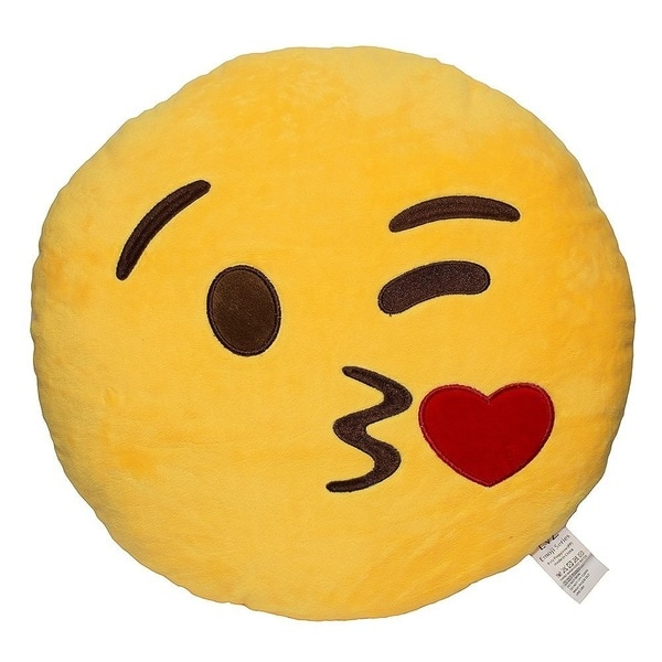 Emoji Kiss Yellow Round Plush Pillow