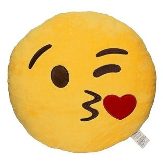 Emoji Kiss Yellow Round Plush Pillow