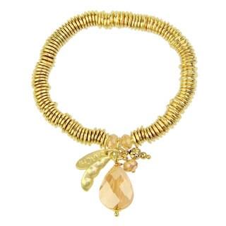 Saachi Glass Bead Teardrop Pea Pod Stretch Bracelet (China)