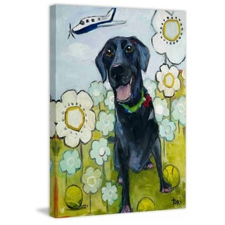 Marmont Hill - Handmade Happy Girl Painting Print on Canvas