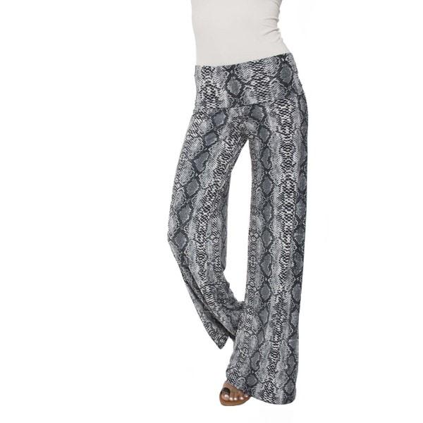 White Mark Women's Sneak Palazzo Pants Grey/ Brown
