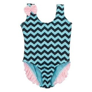 Dippin Daisy's Infant and Toddler's Mint and Black Chevron One-piece with Ruffle