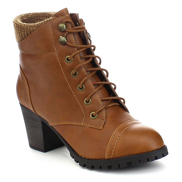 Bamboo Baxter-10l Women's Knitting Top Front Lace-up Combat Style Ankle Boots