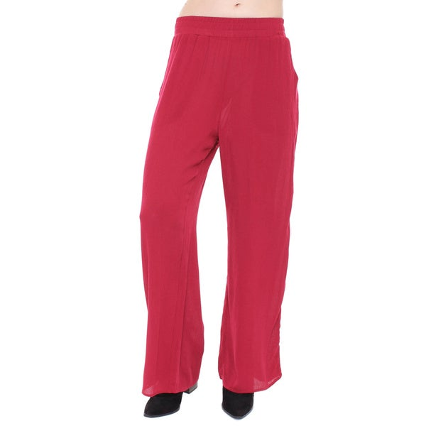 Beston Basics Junior's Burgandy Gauze Palazzo Pants 67418