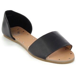 Betani Sonya-1 Women's Easy Slip On Open Toe D'orsay Flats Sandals