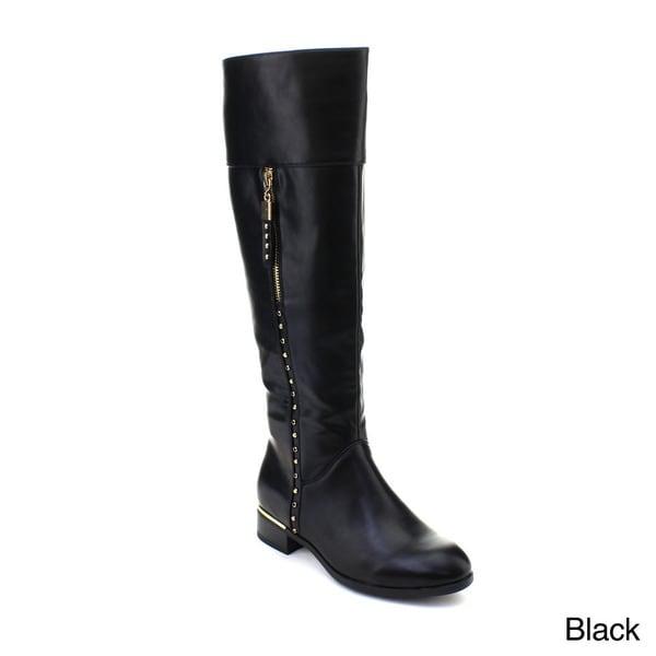 DBDK Arica-1 Women's Flat Heel Side Zipper Studded Knee-high Riding Boots