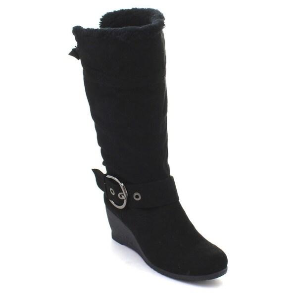 DBDK Moniccaa-1 Women's Comfy Suede Fur Almond Toe Wedges Heel Knee-high Boots