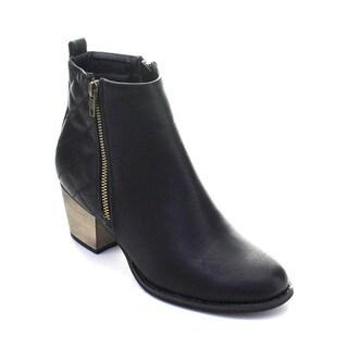 DBDK Genevieve-1 Women's Side Zipper Quilted Almond Toe Chunky Heel Booties