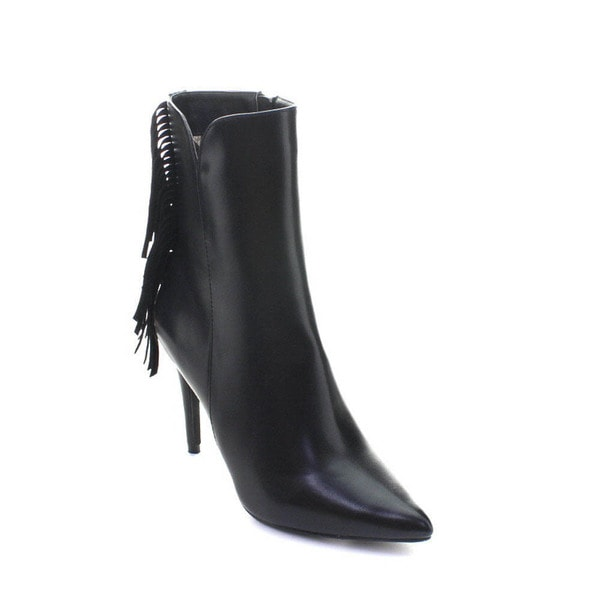 DBDK London-1 Women's Pointed Toe Stiletto Heel Side Zip Mid-calf Fringe Boots