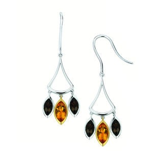 Sterling Silver and 18k Yellow Gold Citrine and Smoky Quartz Marquise Earrings