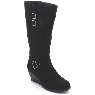 DBDK Moniccaa-2 Women's Comfy Buckle Strap Wedge Heel Knee-high Winter Boots