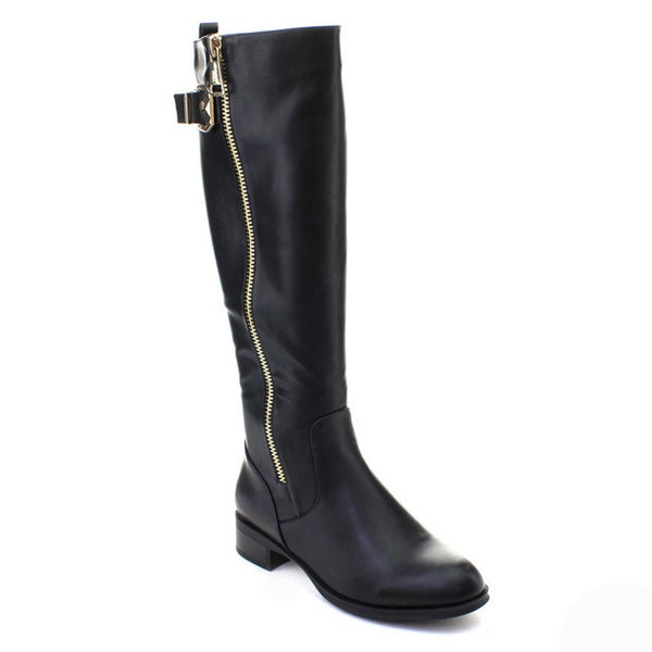 DBDK Ocho-1 Women's Flat Heel Side Zipper Buckle Knee-high Riding Boots