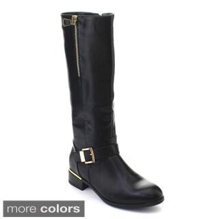 DBDK Orly-1 Women's Flat Heel Side Zipper Bukle Knee-high Riding Boots