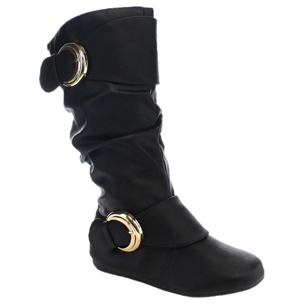Forever Klein-78 Women's Slouchy Side Zip Double Buckle Under Knee-high Boots