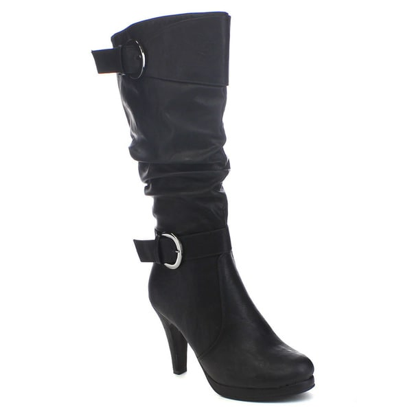 Forever Lotus-28 Women's High Heel Buckle Riding Platform Boots
