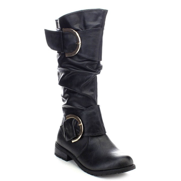 Forever Mango-50 Women's Low Heel Knee-high Riding Slouch Boots