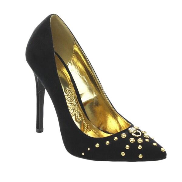 Mona Mia Geraldina Women's Slip On Stiletto Pointed Toe Studded Dress Pump Heels