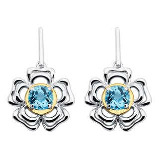 Boston Bay Diamonds 18k Yellow Gold and Sterling Silver 6x6mm Round-cut Blue Topaz Earrings