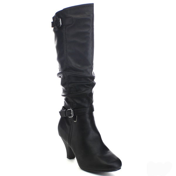 Top Moda Bag-3 Women's Slouchy Buckle Strap Side Zip Knee-high Riding Boots