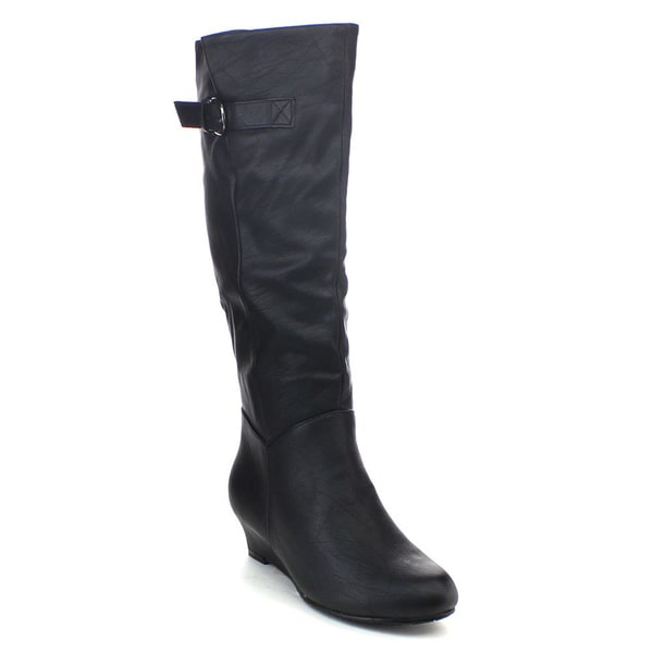 Top Moda Face-18 Women's Buckle Strap Adjustable Calf Knee-high Wedge Boots