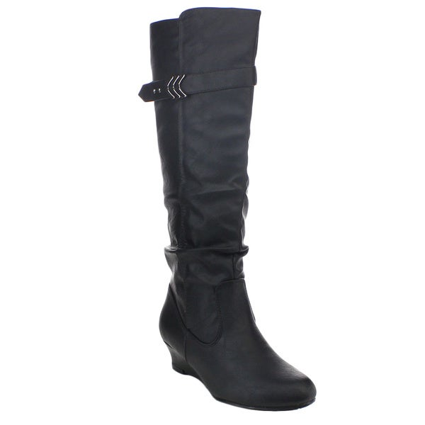 Top Moda Face-39 Women's Fashion Buckle Strap Knee-high Wedge Riding Boots