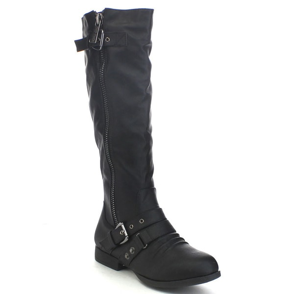Top Moda Land-2 Women's Buckle Strap Side Zip Knee-high Riding Boots
