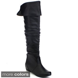 Top Moda Mesh-1 Women's Over The Knee Thigh High Slouchy Boots