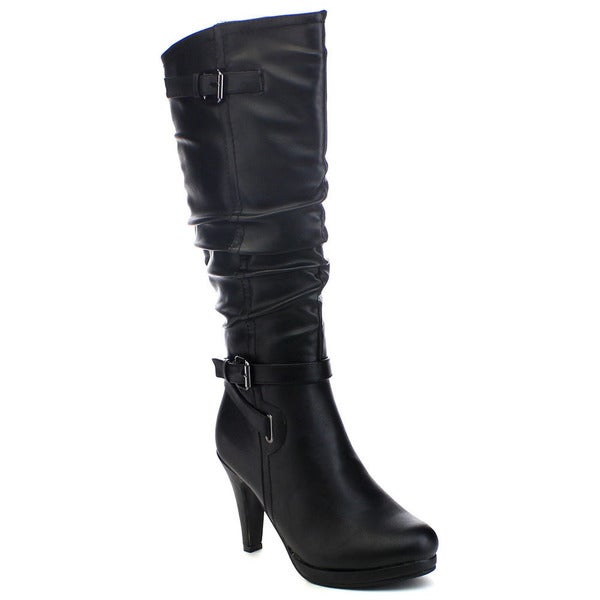 Top Moda Win-3 Women's Crinkled Shaft Buckle Strap Side Zip Knee-high Boots