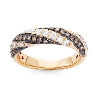 Boston Bay Diamonds 14k Yellow Gold 5/8ct TDW Cognac and White Diamond Fashion Twisted Ring (H-I, SI1-SI2)