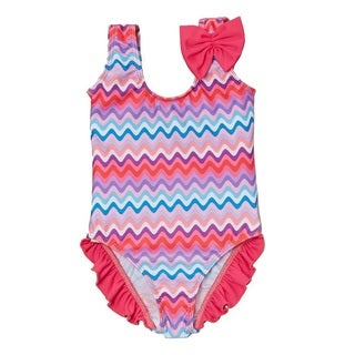 Dippin Daisy's Infant and Toddler's Pink Zigzag One -piece with Ruffles