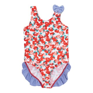 Dippin Daisy's Infant and Toddler's Red Fruit One-piece Girl's Swimdress with Ruffles