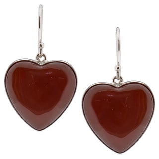 Sterling Silver Heart Carnelian Dangle Earrings (China)