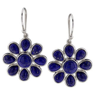 Sterling Silver Round Lapis Dangle Earrings (China)