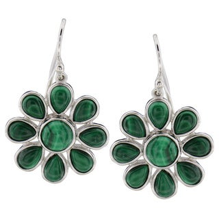 Sterling Silver Round Malachite Dangle Earrings (China)
