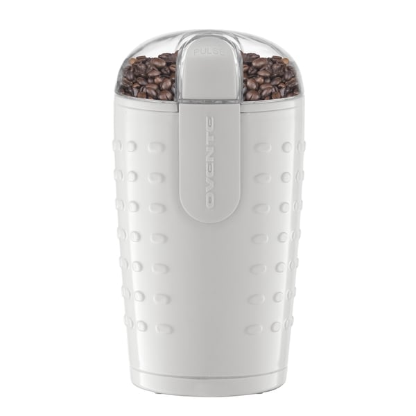 Ovente CG225 White Electric Grinder with Stainless Steel Blades for Coffee