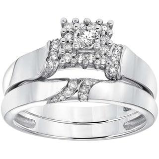 Cambridge 14k White Gold 1/6ct TDW Diamond Bridal Ring Set (I-J, I1-I2)