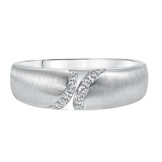 Cambridge 14k White Gold Men's 1/10ct TDW Diamond Wedding Band