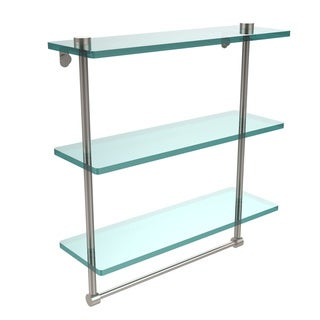 Allied Brass 16-inch Triple Tiered Glass Shelf with Integrated Towel Bar