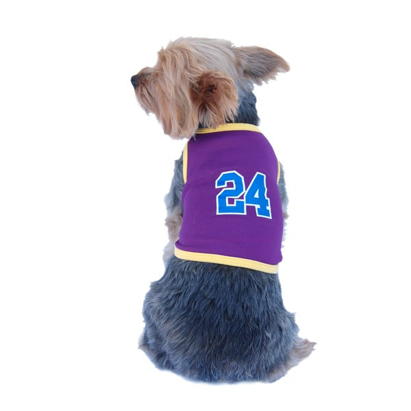 Purple and Yellow Sporty Dog Pet Mesh Jersey Tank Top