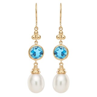 14k Gold White Freshwater Pearl and Blue Topaz Dangling Earrings (8-9 mm) with Gift Box
