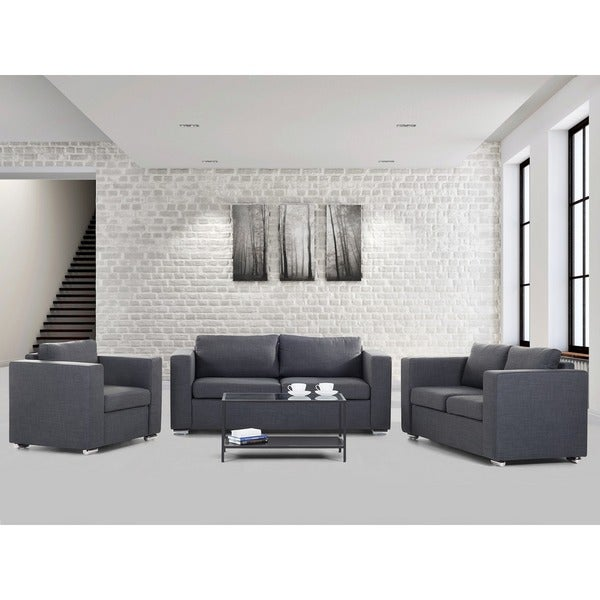 Upholstered Helsinki Blue or Burgundy Sofa Set