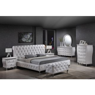 William's Home Furnishing Leatherette Tufted Crystal Bed Set