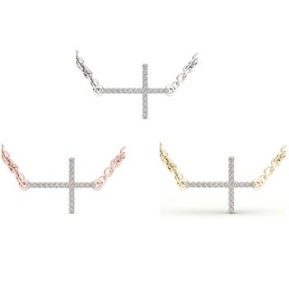 De Couer 10k Gold Diamond Sideways Cross Necklace (H-I, I2)