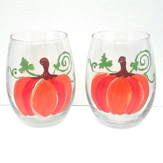 Autumn Pumpkin Fall Hand-painted 20-ounce Stemless Wine Glasses (Set of 2)