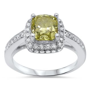 Noori 18k White Gold 1 3/4ct TDW Fancy Yellow Diamond Halo Engagement Ring (G-H, SI1-SI2)