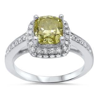 Noori 18k White Gold 1 1/2ct TDW Fancy Yellow Diamond Halo Engagement Ring (G-H, SI1-SI2)