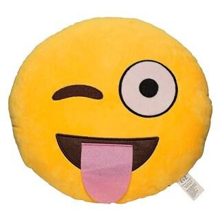Emoji Tongue Yellow Round Plush Pillow