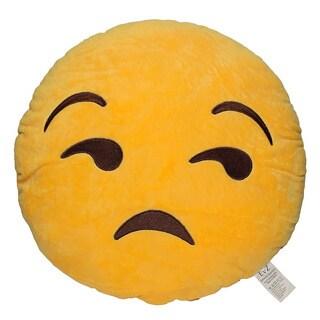 Emoji Flouting Yellow Round Plush Pillow